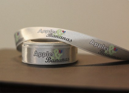 satin ribbon with logo and text